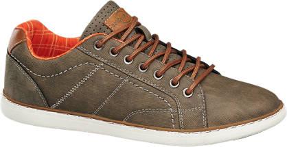 Memphis One Bruine sneaker oranje details