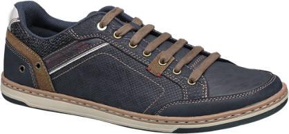 Memphis One Donkerblauwe sneaker bruine details