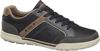 Memphis One Zwarte sneaker bruine details