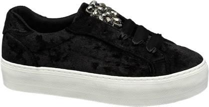 Graceland Női fekete bársony sneaker
