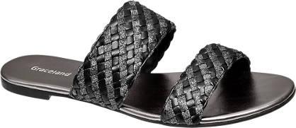 Graceland Pantolette  schwarz, silber