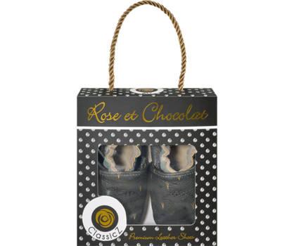 Rose & Chocolat Rose & Chocolat Dino Jungen Slipper Grau