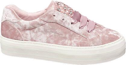 Catwalk Rózsaszín bársony sneaker
