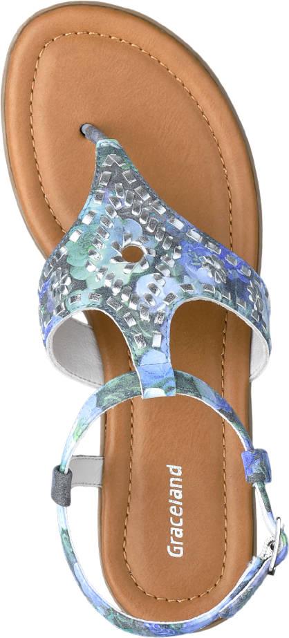 Graceland Sandale blau, silber