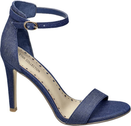 Star Collection Denim Ankle Strap Heeled Sandals