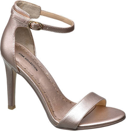 Star Collection Metallic Ankle Strap Heeled Sandals