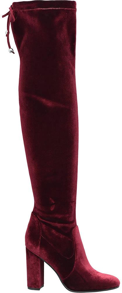 Ellie Star Collection Zamatové čižmy nad kolená