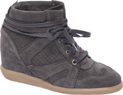 5th Avenue Grijze suède sneaker sleehak