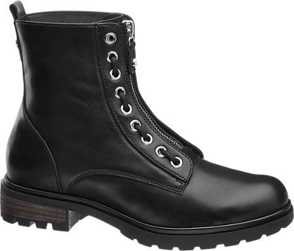 5th Avenue Eyelet & Zip Detail Leather Boot