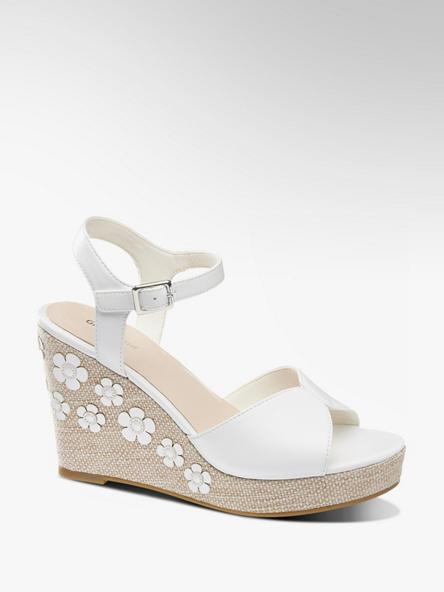 Graceland Biele sandále na klinovom podpätku Graceland
