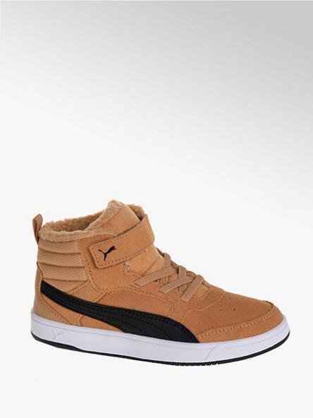 Puma Béžové kožené kotníkové tenisky Puma Rebound Street Vs Fur