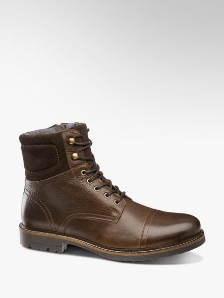 AM SHOE Hnědá kožená kotníková obuv AM Shoe se zipem