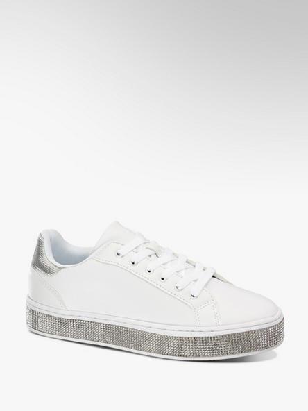Graceland białe sneakersy damskie Graceland na błyszczącej podeszwie