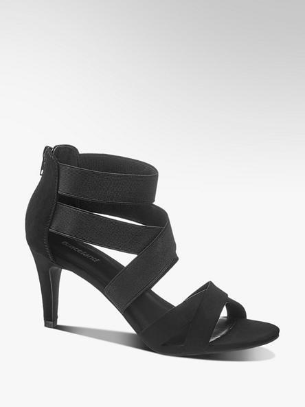 Graceland czarne sandałki damskie Graceland na obcasie