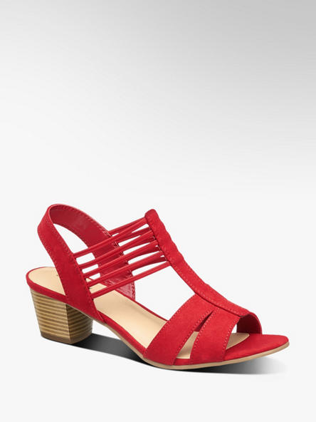 Graceland czerwone sandały damskie Graceland z elastycznymi paseczkami