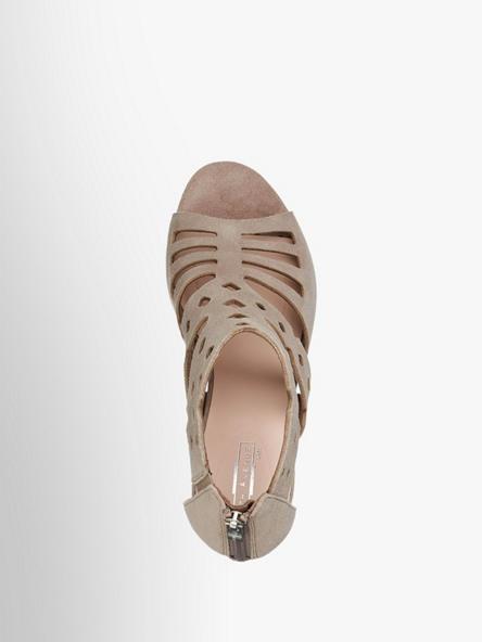 5th Avenue Šedobéžové kožené sandály na podpatku 5th Avenue