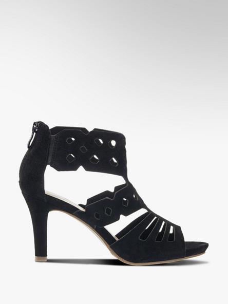 5th Avenue Černé kožené sandály na podpatku 5th Avenue