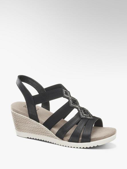 Easy Street Černé komfortní sandály na klínku Easy Street