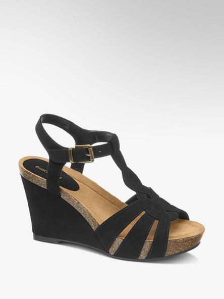 Graceland Černé sandály na klínku Graceland