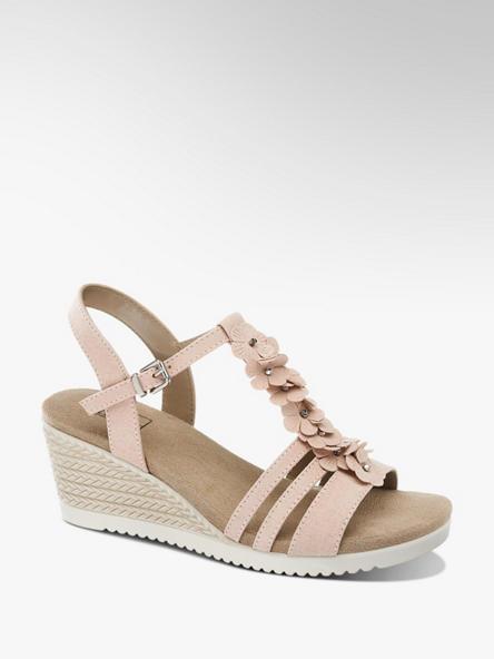 Easy Street różowe sandały damskie Easy Street na koturnie