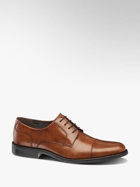 AM SHOE Hnědá kožená společenská obuv AM Shoe