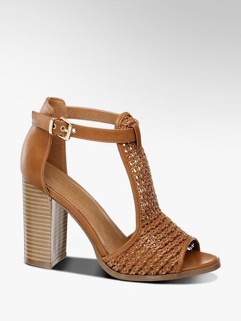 Graceland Hnědé sandály na podpatku Graceland