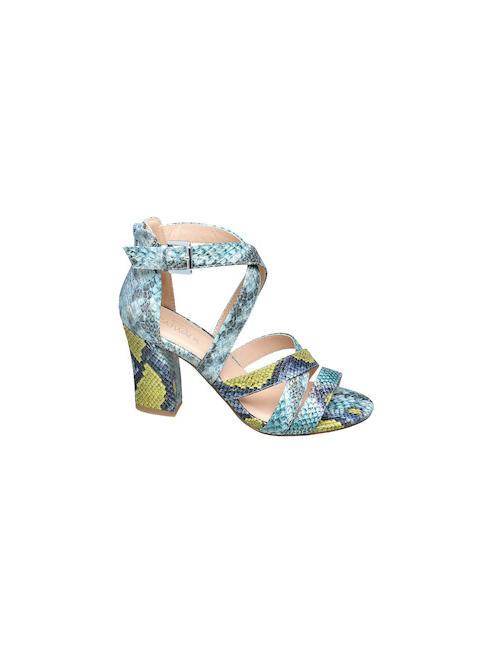 Catwalk Modrozelené sandále na podpätku Catwalk so zvieracím vzorom