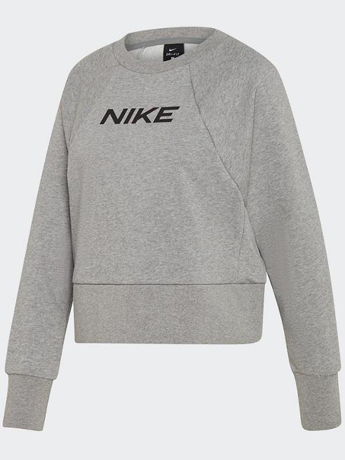 NIKE Crop Pullover in Grau mit Logo-Print