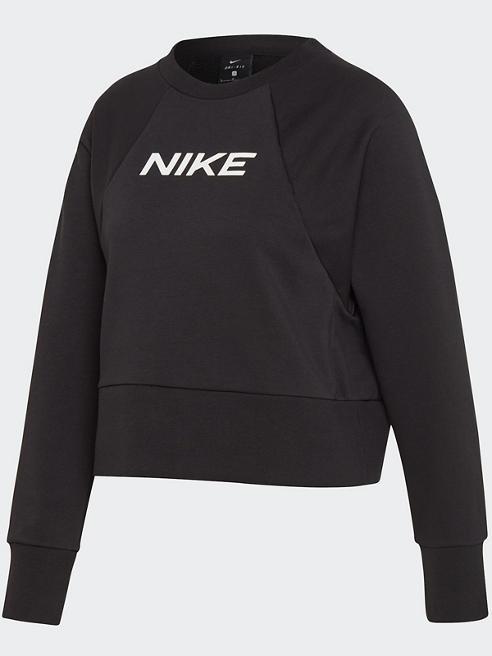 NIKE Crop Pullover in Schwarz mit Logo-Print
