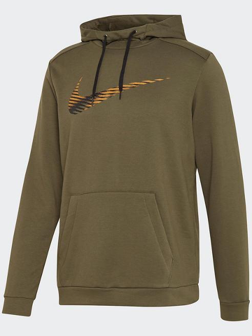 NIKE Hoodie in Khaki mit Bauchtasche