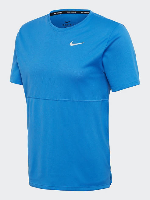 NIKE Trainingsshirt in Blau mit Logo-Print