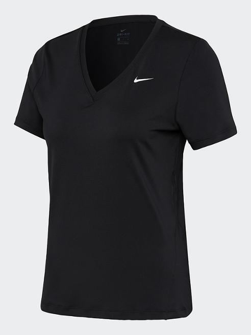 NIKE Trainingsshirt in Schwarz mit V-Ausschnitt