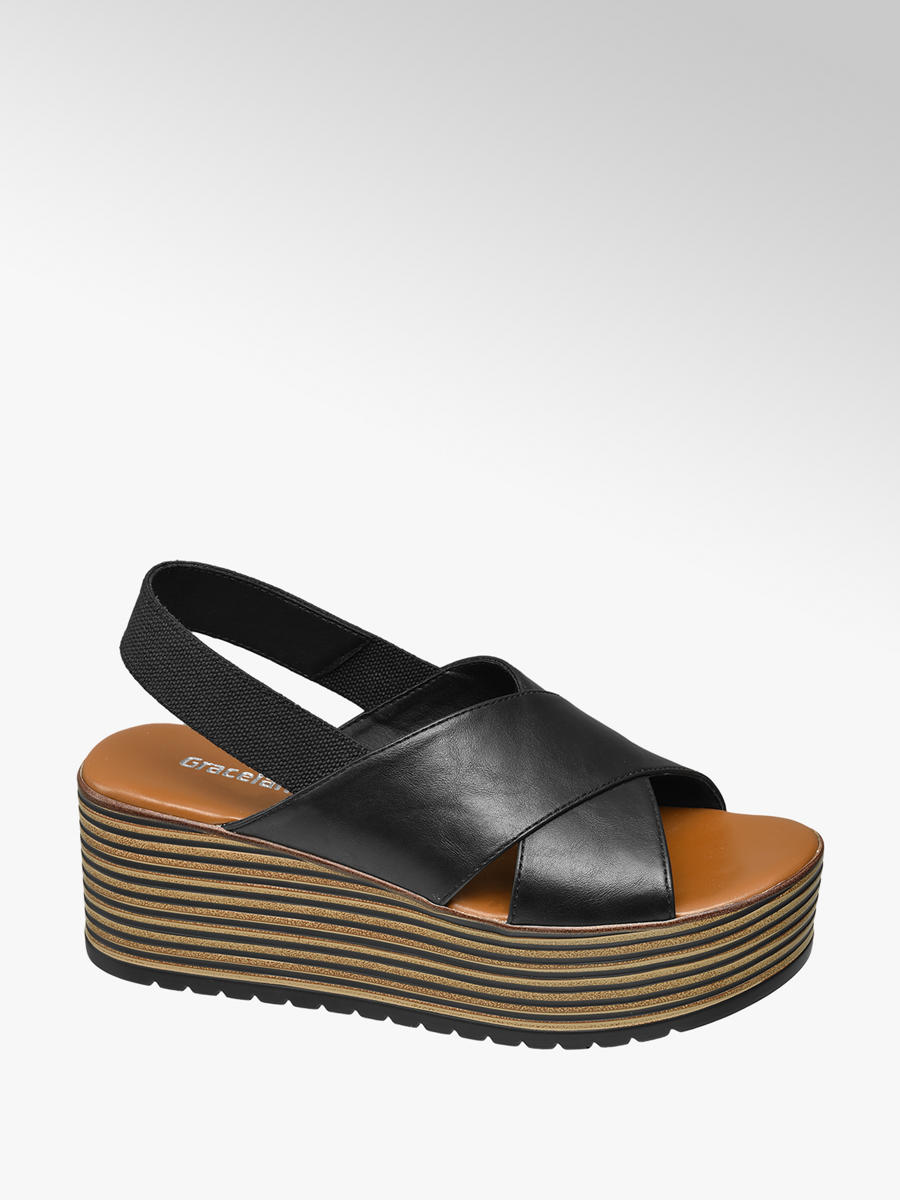 online zum Verkauf Werksverkauf Ausverkauf Zwarte sandaal plateau - Collecties - Spread the look
