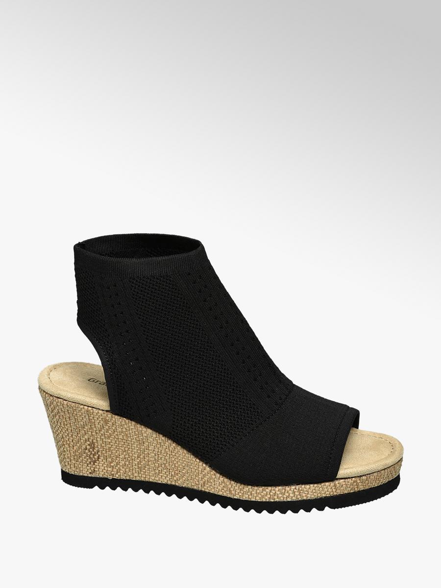 246bc5454e1 Zwarte sock sandaal sleehak - Collecties - Spread the look