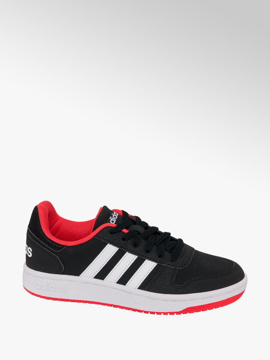 Teen Boys Adidas Hoops 2.0 Black Lace-up Trainers - Kids