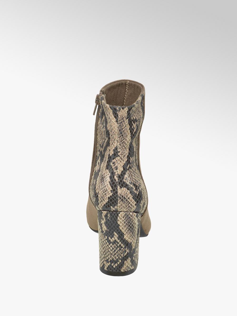 Bruine enkellaars slangenprint hak Collecties Fall
