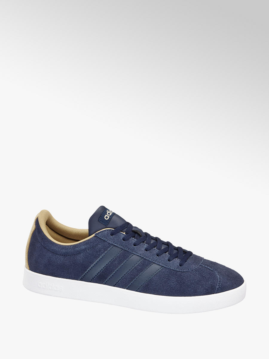Adidas VL Court 2.0 Men s Blue Leather Trainers  74f9ff322