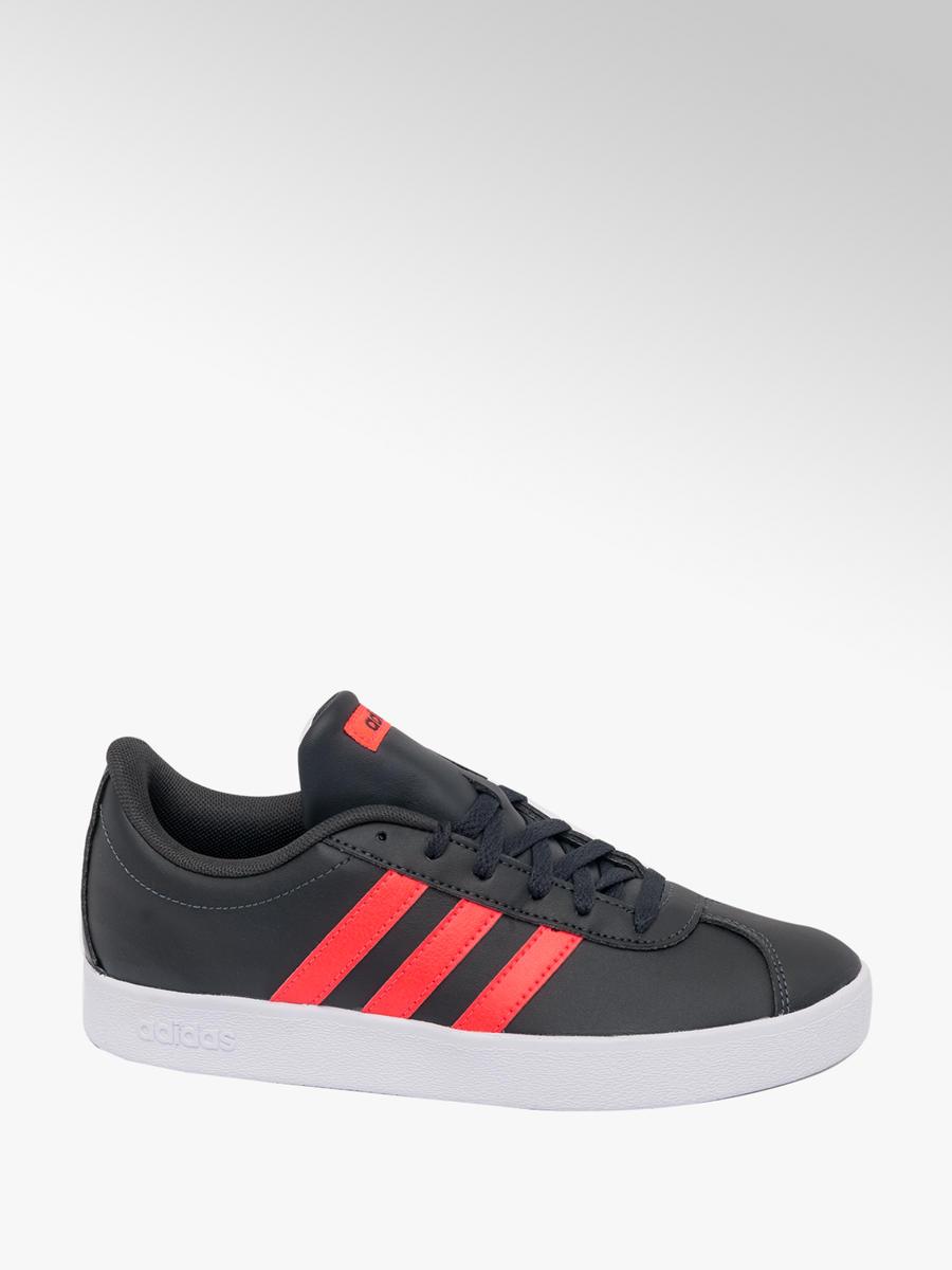 7e1f77ba6cd27 Adidas VL Court Junior Boys Trainers Black Red
