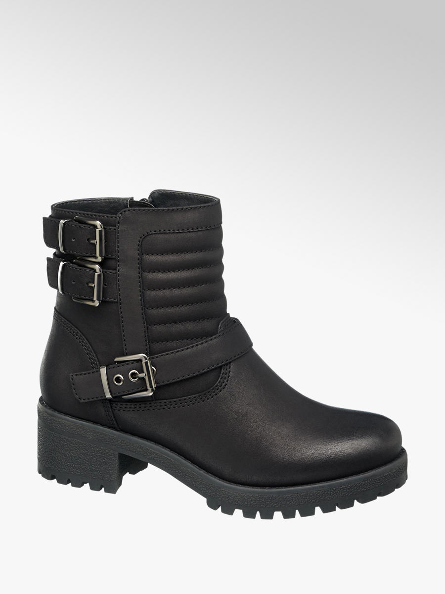 Ankle Boots in Black with Buckles and