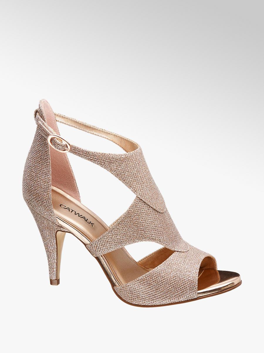 cfb2008d0c54 Catwalk Ladies  Gold Party Heels
