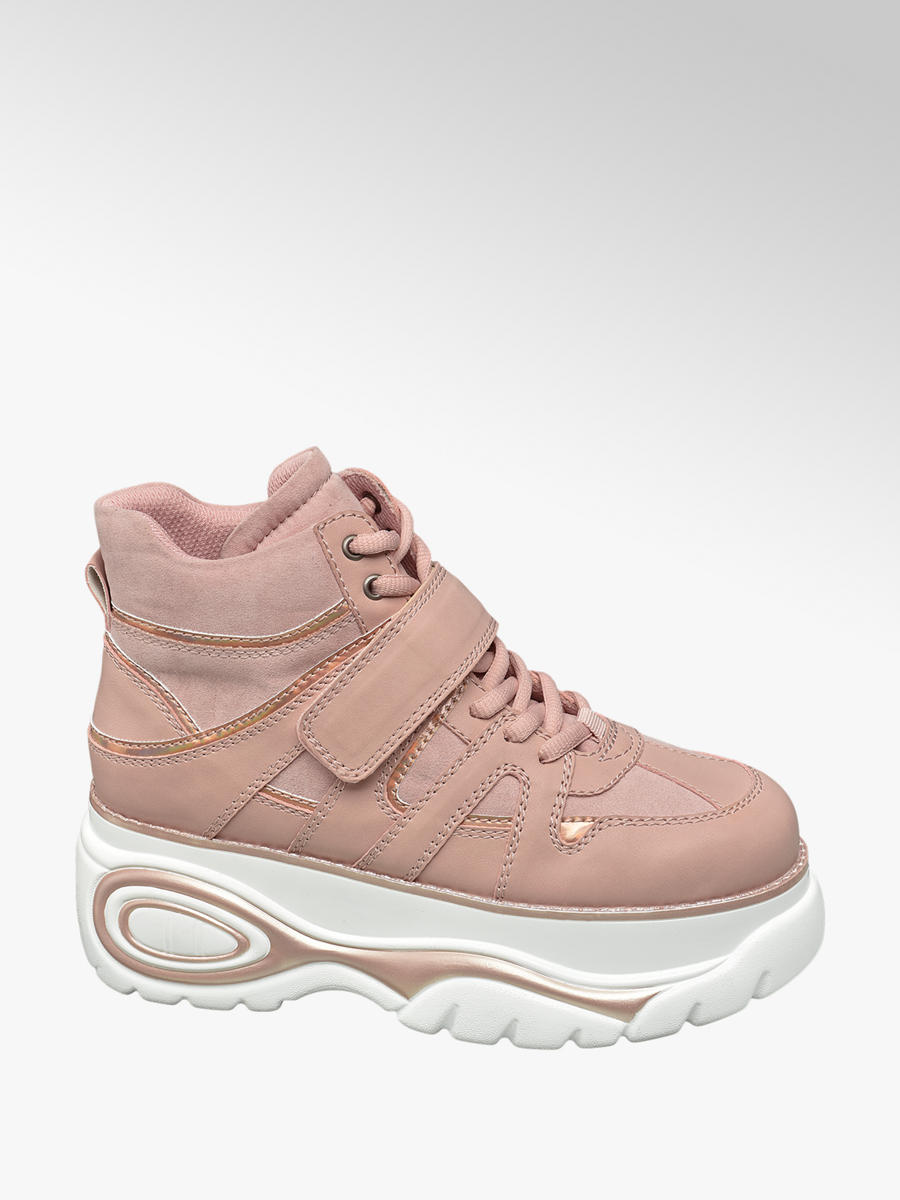 fashion style fashion more photos Catwalk Ladies' Pink Chunky Lace-up Platform Trainers ...