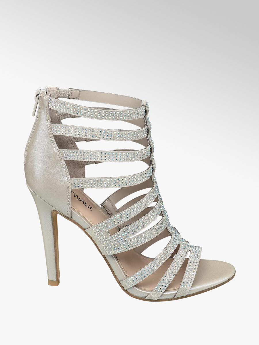 5a9bec427cbca Catwalk Ladies  Silver Gem Strappy Heeled Sandals