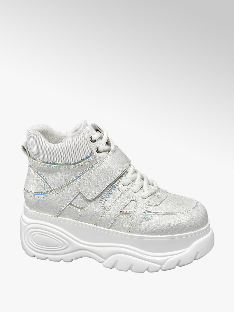 55c508d376c Catwalk Ladies  White Chunky Lace-up Platform Trainers