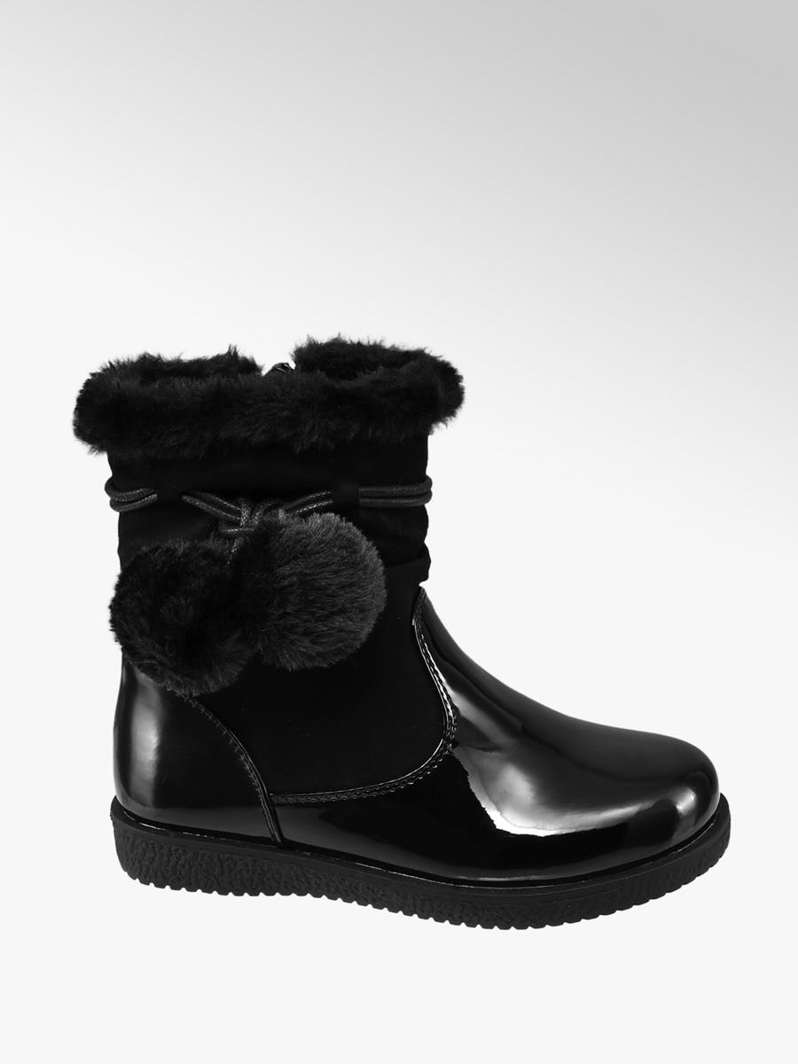 9a61d13db136 Cupcake Couture Toddler Girls Black Patent Ankle Boots with Faux Fur  Pom-Poms