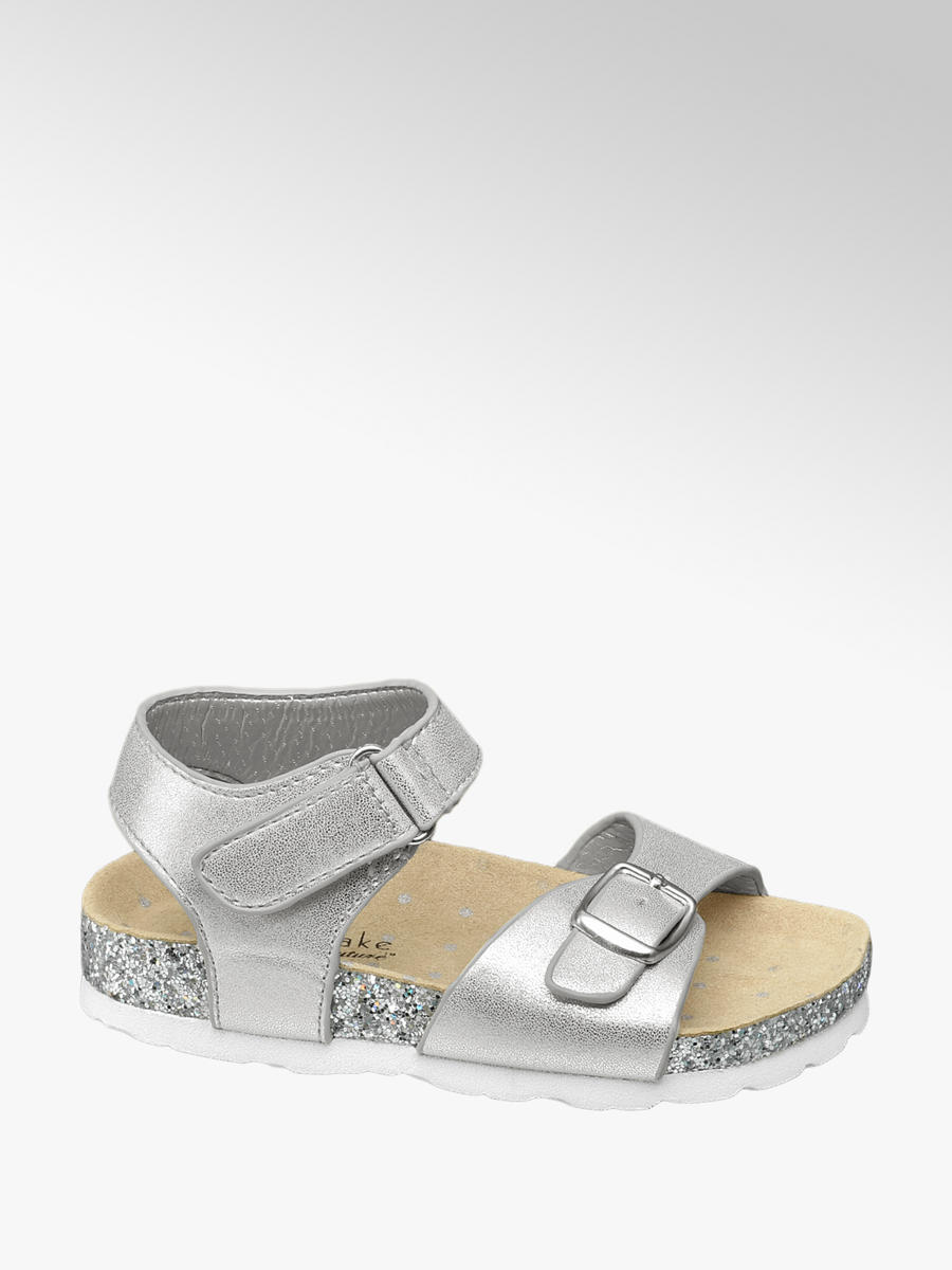 36f22163f128 Cupcake Couture Toddler Girl Silver Glitter Footbed Sandals