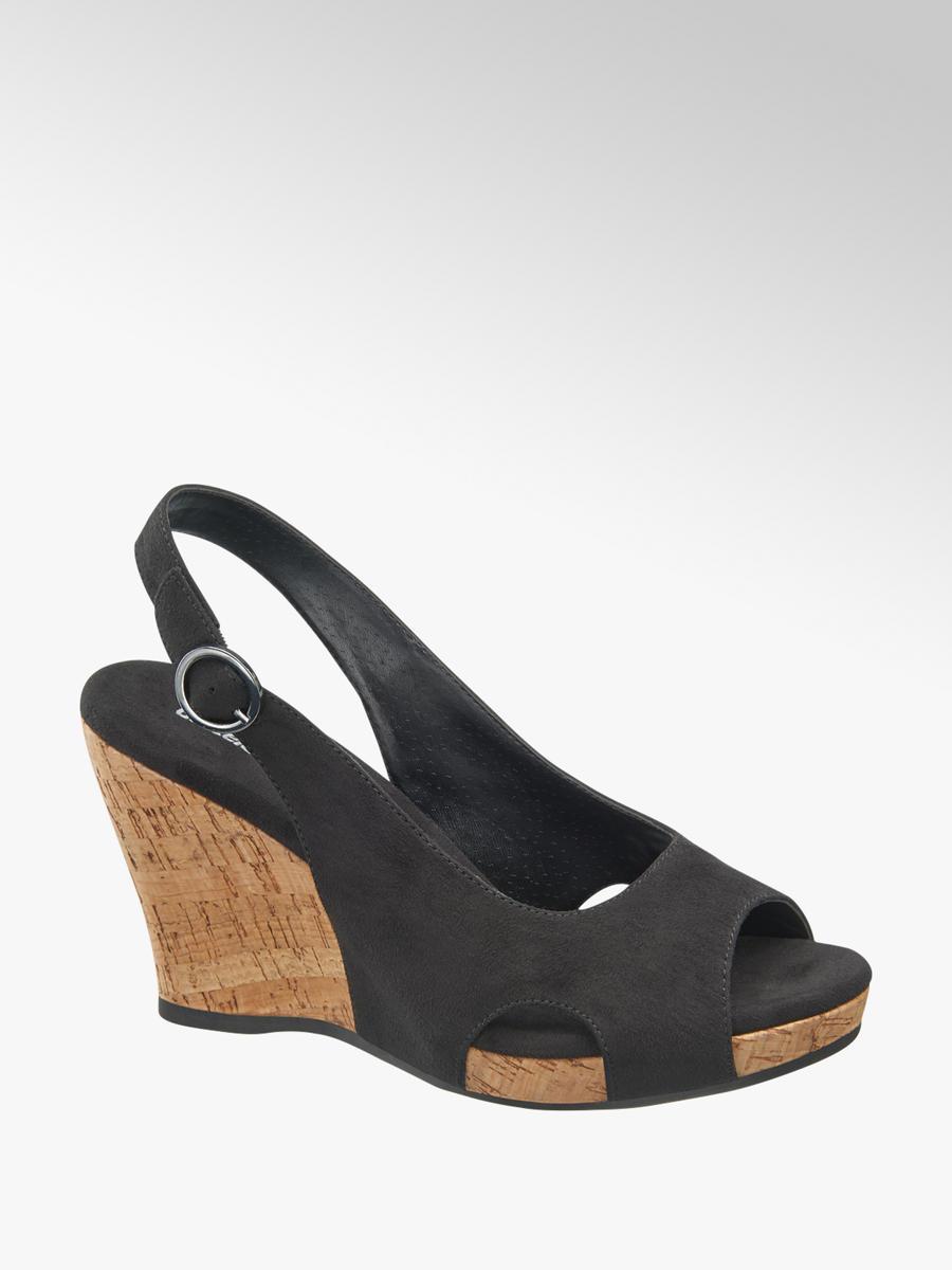 005fc83c8abb0 Czarne sandały na koturnie Graceland - 1240679 - deichmann.com
