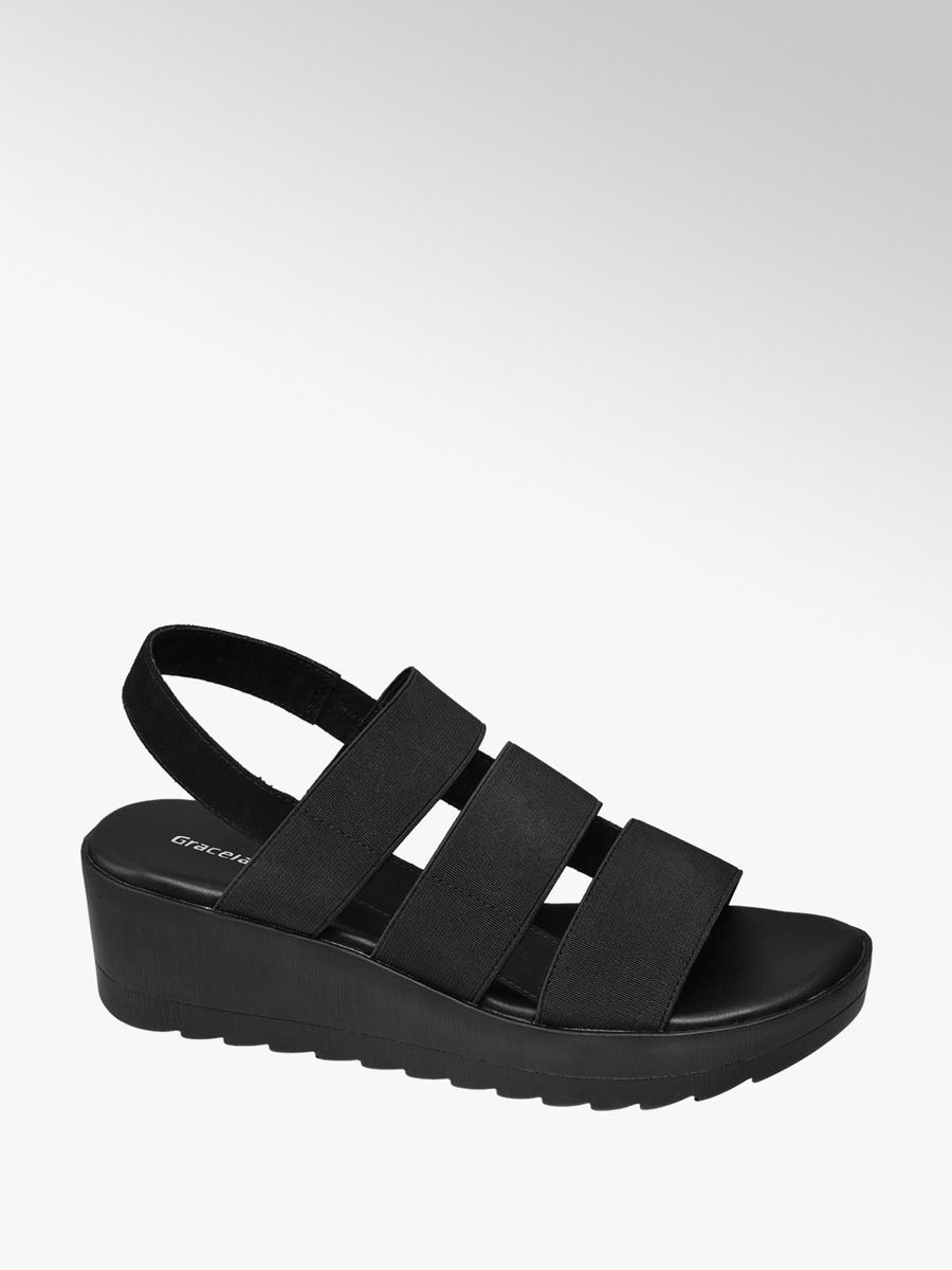 15045cda7974f4 Czarne sandały na koturnie Graceland - 1230052 - deichmann.com