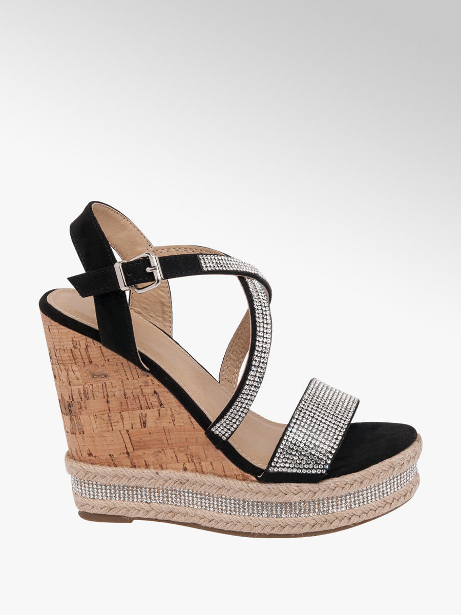 Rose Sandals Deichmann Diamante Black Ladies Wedge MpUzVS