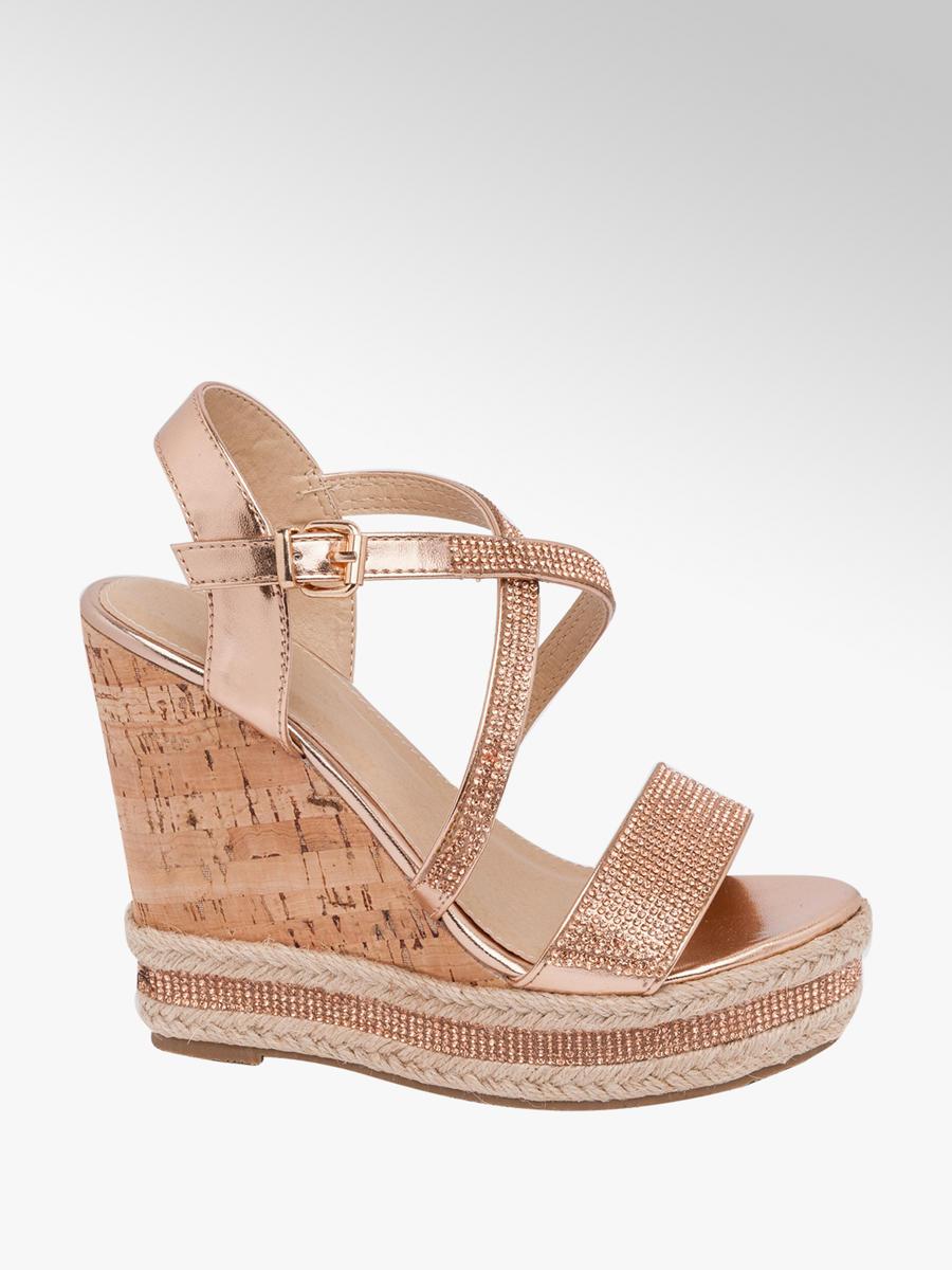 a40f9d1da1 Deichmann Ladies Diamante Wedge Sandals Rose Gold | Deichmann