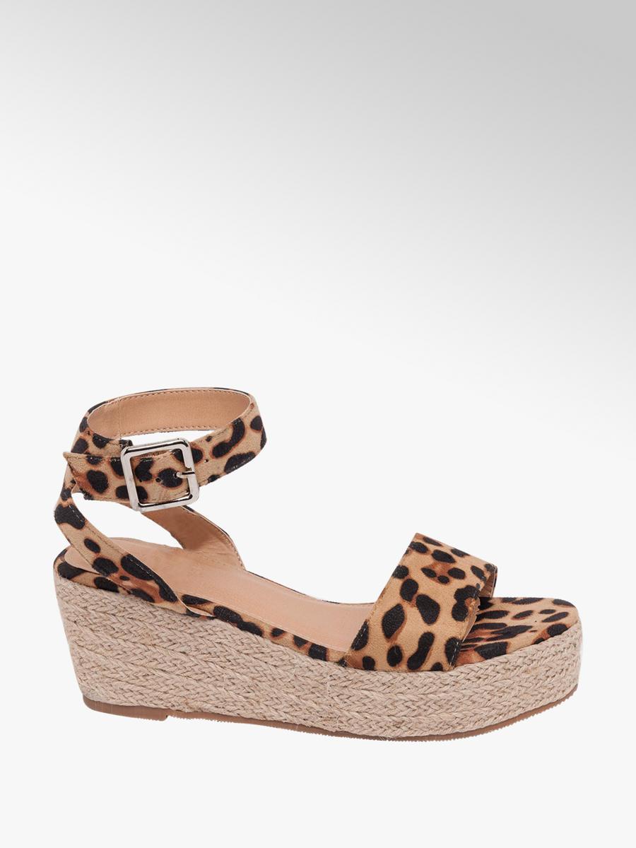 88010961d Deichmann Ladies Leopard Print Wedge Sandals Beige | Deichmann